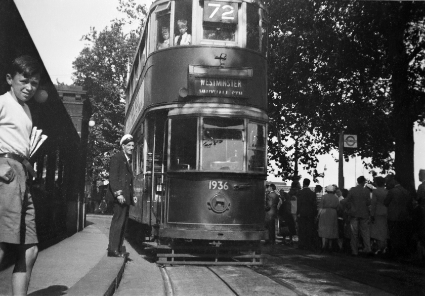 The end of the London Trams. Thames Embankment - 1952