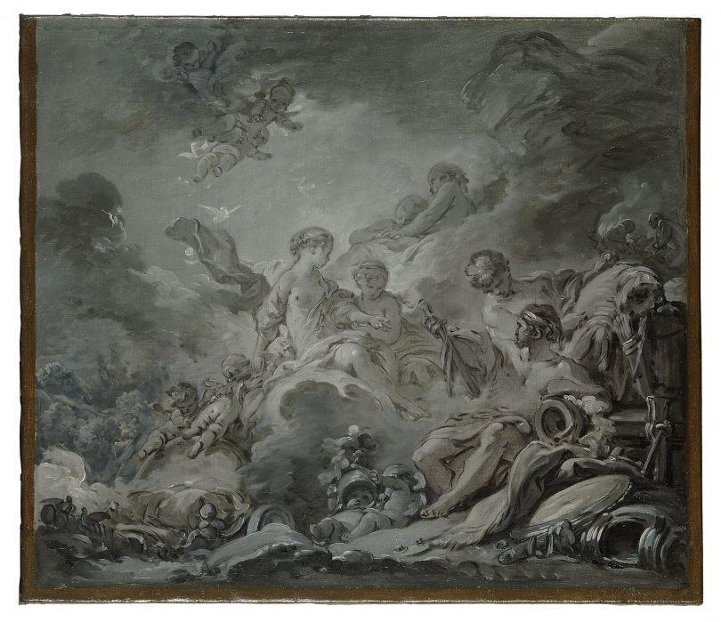 François Boucher (1703–1770) Vulcan's Forge (Vulcan presenting Venus with Arms for Aeneas), 1756 Oil on canvas, 38 × 43 cm Musée des Arts décoratifs, Paris, 36231