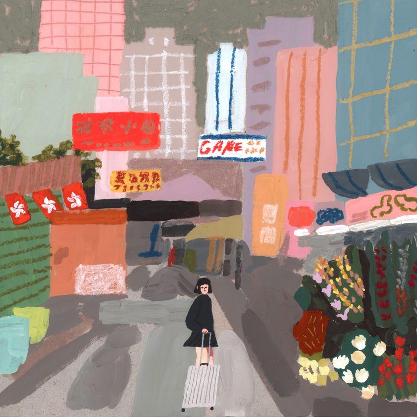 Hong Kong Market, Illustration for Rimowa. Acrylic on board