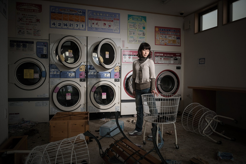 Rieko Matsumotoest at a laundry in Namie