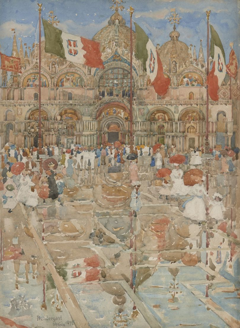 Splash of Sunshine and Rain (Piazza San Marco, Venice), 1899. Maurice B. Prendergast, American, 1858-1924. Watercolor and graphite on paper, 19 3/8 × 14 1/4 inches Private collection.