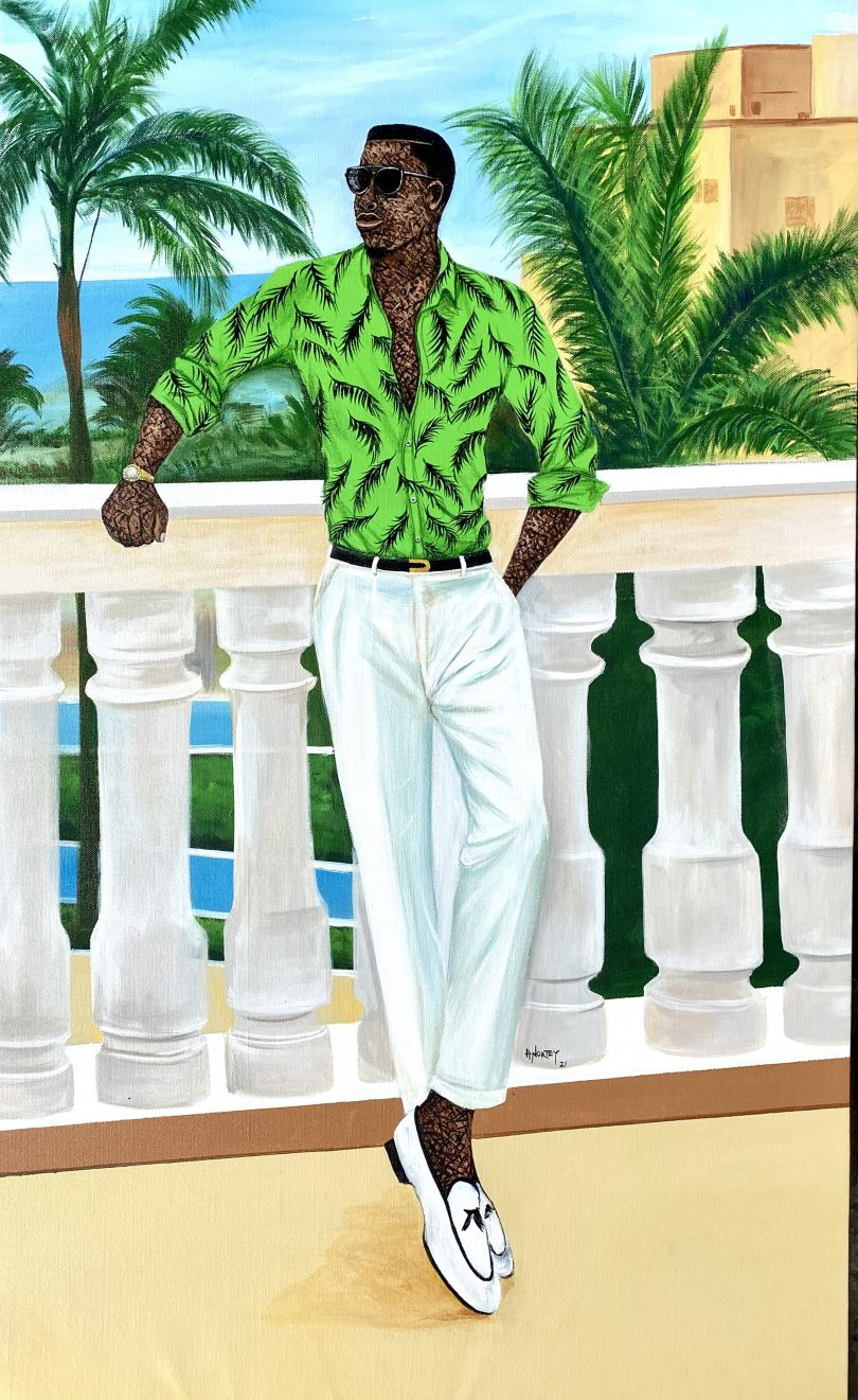 """Hamid Nii Nortey, """"Self confidence is the best outfit , rock it and own it"""", 2021. Acrylic on canvas. Courtesy of the artist and of ADA contemporary art gallery"""