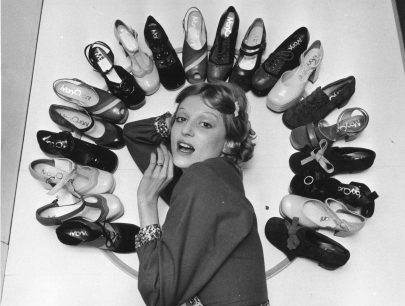 Fashion model Ika posing with Mary Quant's new collection of shoes, 6 April 1972 © Roger Jackson/Central Press/Getty Images