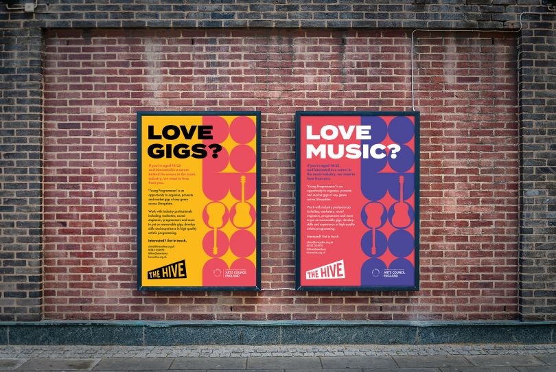 Poster designs to help recruit participants for a music project being run by Shrewsbury based arts organisation, The Hive.