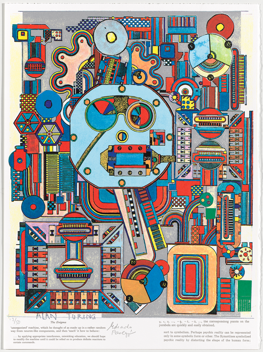 Eduardo PaolozziEnigma, Plate 3 from The Alan Turing Suite, 2003 Colour screenprint and photo-stencil with text, 72.5 × 54 cm. © Trustees of the Paolozzi Foundation, Licensed by DACS 2018. Collection: Kip Gresham.