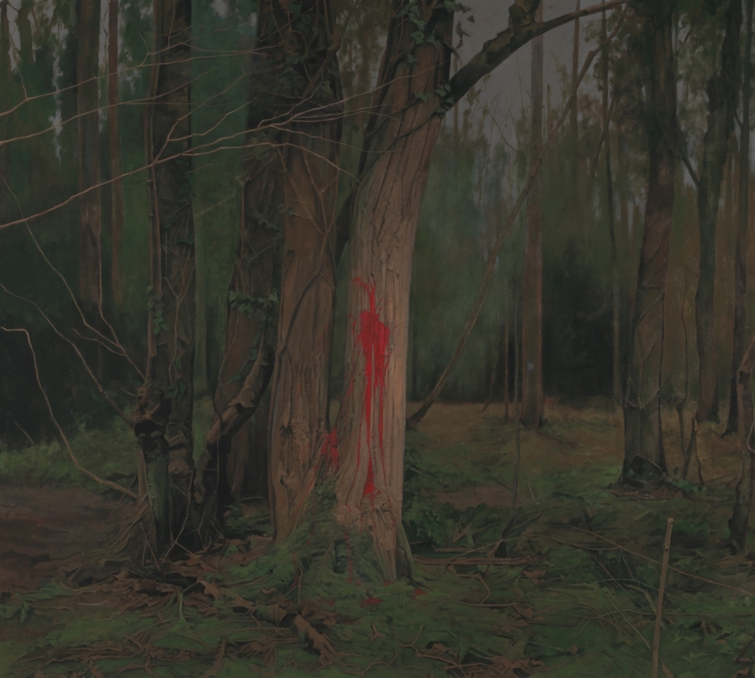 George Shaw, Every Brush Stroke is Torn Out of My Body, 2015-2016, Enamel on canvas, 178.5 × 198 cm. Credit: © Courtesy: The Artist and Wilkinson Gallery, London