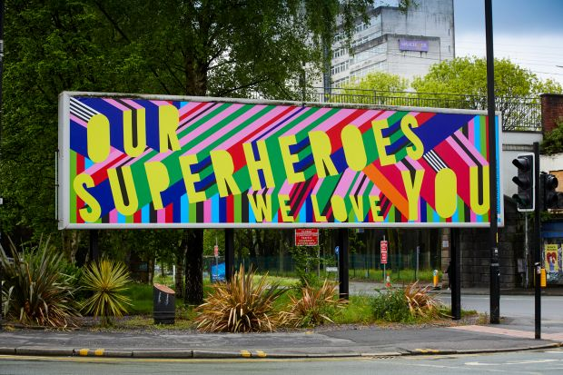 Manchester Billboards designed by British artist and designer, Morag Myerscough.  Photographed by Mark Waugh