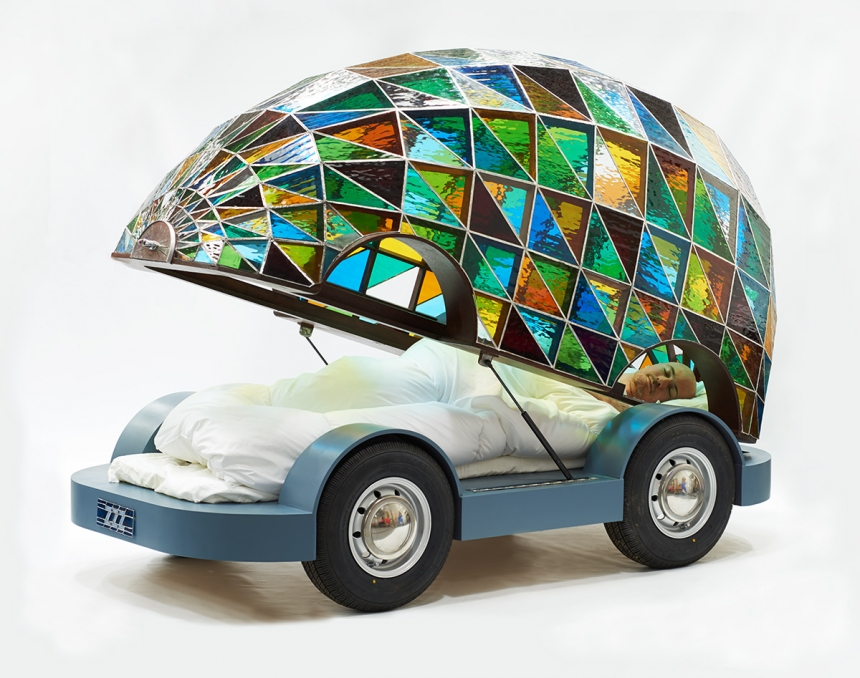 The Stained Glass Driverless Sleeper Car, Dominic Wilcox. Photo: Sylvain Deleu