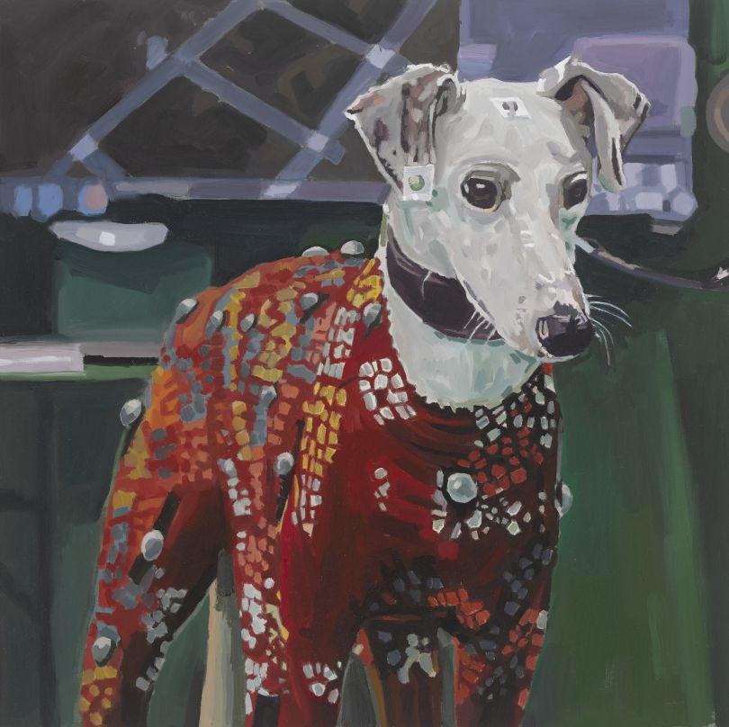 Colin Martin, Dog (Motion Capture) , 2018. Oil on canvas, 50 x 60 cm. Courtesy of Gibbons & Nicholas