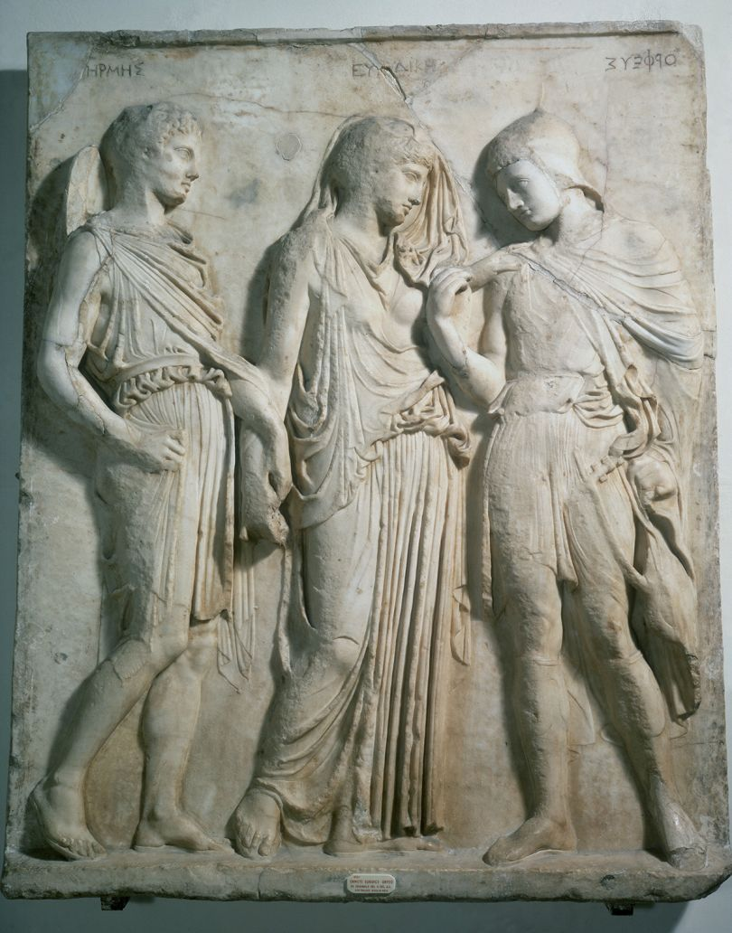 Artist Unknown, Orpheus and Eurydice, 1st-century AD copy of 5th-century BC Greek original, marble, 118 x 100 cm (461⁄2 x 391⁄2 in), Museo Archeologico Nazionale, Naples. Picture credit: Shutterstock: Alinari