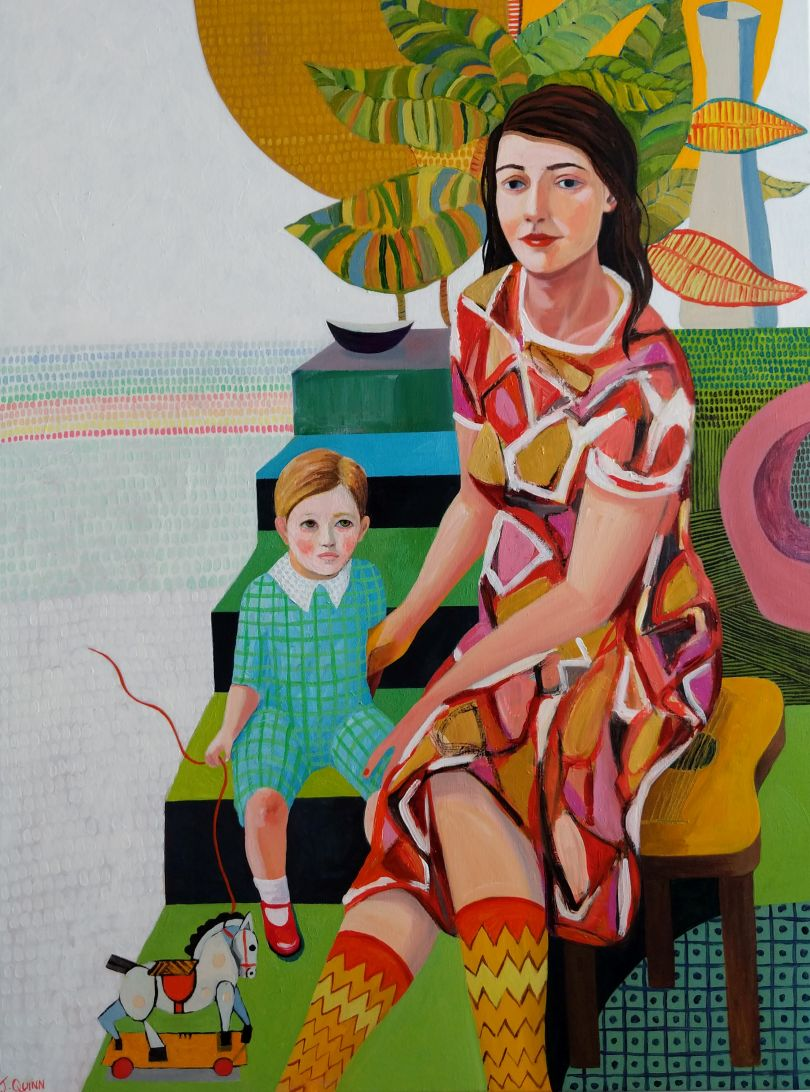 Jessica Quinn, Mother And Son , 2019. Acrylic on canvas. Courtesy of Kittoe Contemporary