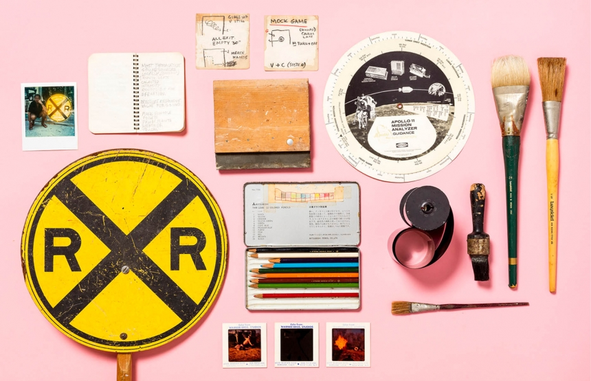 Materials from Robert Rauschenberg's home and studio. Courtesy Robert Rauschenberg Foundation, New York