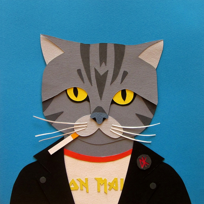 cool cats colourful handmade paper collages exemplify