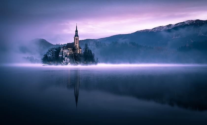 'Dusk in the lake' by Sandi Bertoncelj/Photocrowd.com - Lake Bled, Slovenia