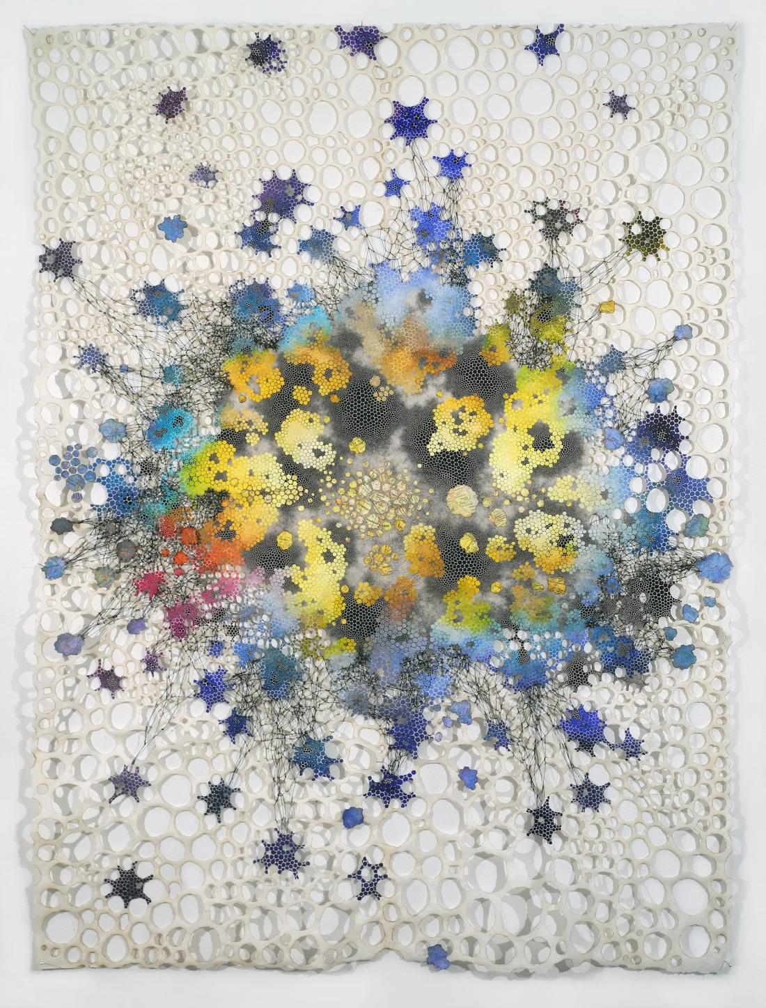 "Extravasate Karen Margolis Extravaste, 2018 watercolor, gouache, maps, thread on Abaca paper 58""x 44"" Courtesy of the artist and Garis & Hahn"