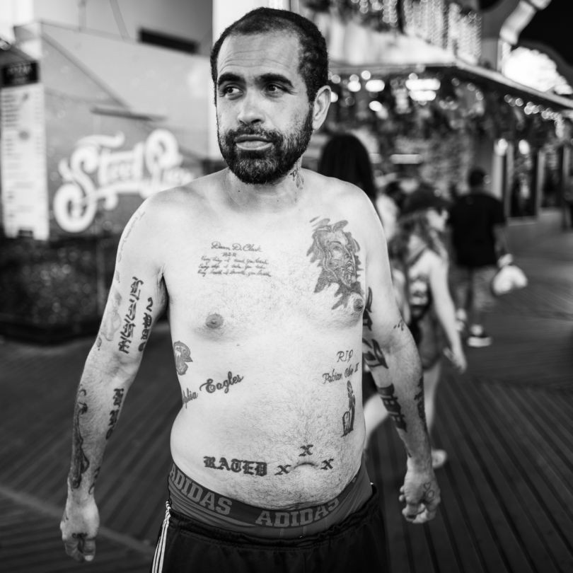 Frankie came to Atlantic City looking for work in the building trades.  Photographed on the Boardwalk. © Timothy Roberts