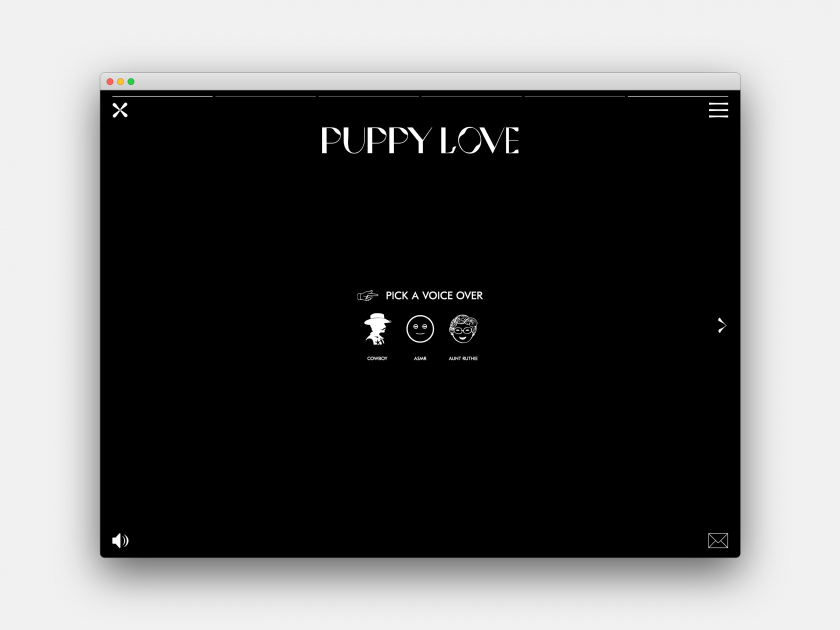 PuppyLove, demonstrating the 'Interactive design pushed to its limits' trend