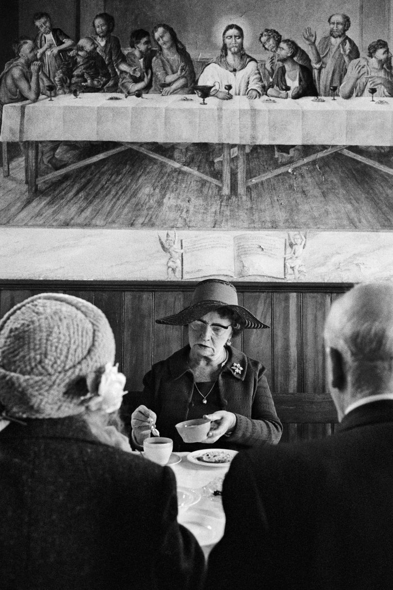 Steep Lane Baptist Chapel buffet lunch, Sowerby, Calderdale, West Yorkshire, England, UK, 1977 From 'The Non-Conformists' © Martin Parr / Magnum Photos / Rocket Gallery