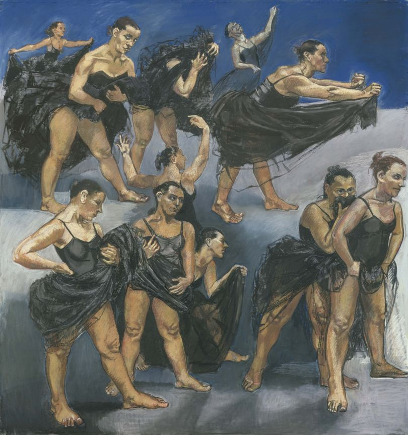 Paula REGO (b. 1935) Dancing Ostriches, 1995, (left-hand panel of diptych) Pastel on paper mounted on aluminium, left panel, 162.5 x 155 cm Collection: Private Collection © Paula Rego, courtesy Marlborough, New York and London