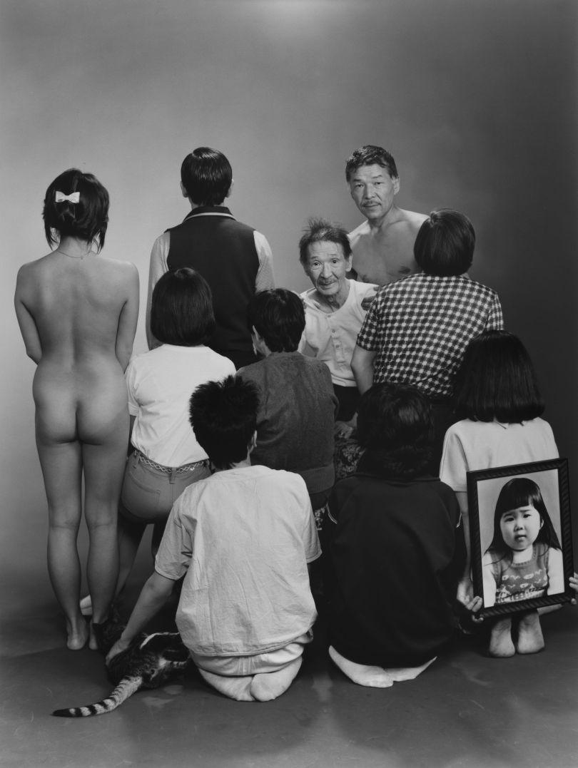 Masahisa Fukase – Upper row, from left to right: A, a model; Toshiteru, Sukezo, Masahisa. Middle row, from left to right: Akiko, Mitsue, Hisashi Daikoji. Bottom row, from left to right: Gaku, Kyoko, Kanako, and a memorial portrait of Miyako, 1985, from the series Family, 1971-90 © Masahisa Fukase Archives