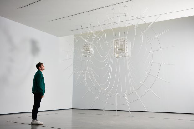 Installation shot of Cerith Wyn Evans in The Hepworth Prize for Sculpture. 26 October 2018 - 20 January 2019. Photo, Stuart Whipps