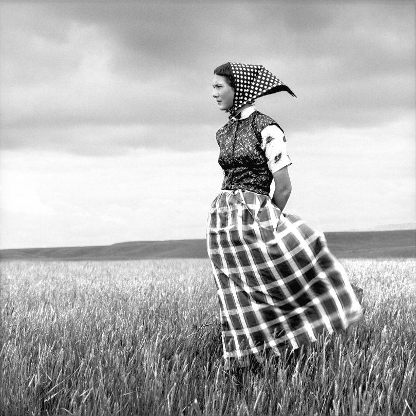 Laura Wilson, Emma, Hutterite Girl in Field, Duncan Ranch Colony, Harlowton, Montana, June 17, 1994