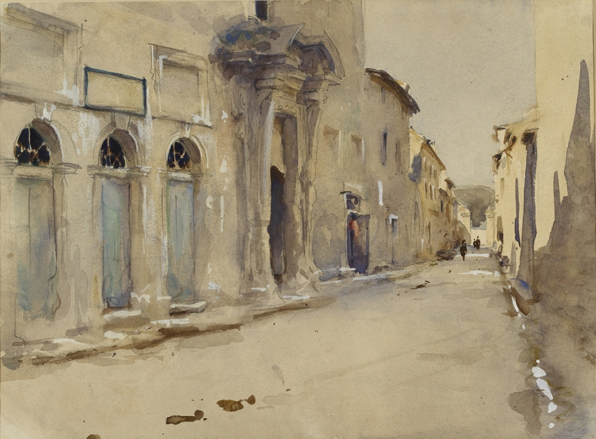 John Singer Sargent, A Street in Spain, c. 1880, watercolour on paper, over preliminary pencil, 23.8 x 32.1 cm, The Ashmolean Museum, Oxford. Presented by Miss Mabel Price, 1935. Image © Ashmolean Museum, University of Oxford