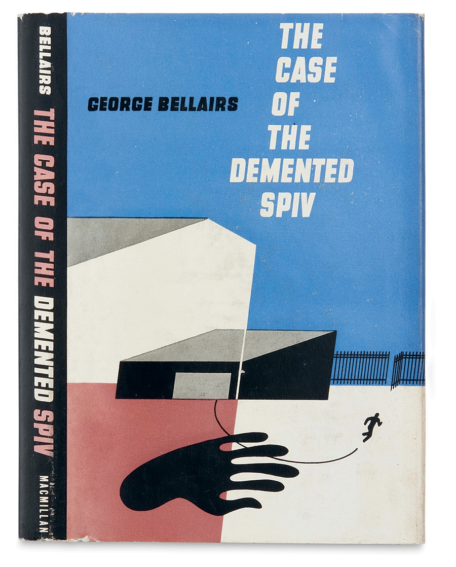 Arthur Hawkins, Jr, The Case of the Demented Spiv, George Bellairs. Macmillan, New York, 1950. © The Estate of Arthur Hawkins, Jr. Created at the end of Hawkins's career as a dust-jacket designer, this composition for Bellair's Inspector Littlejohn crime novel shows him adopting modernist techniques with an angular construction of image and text.