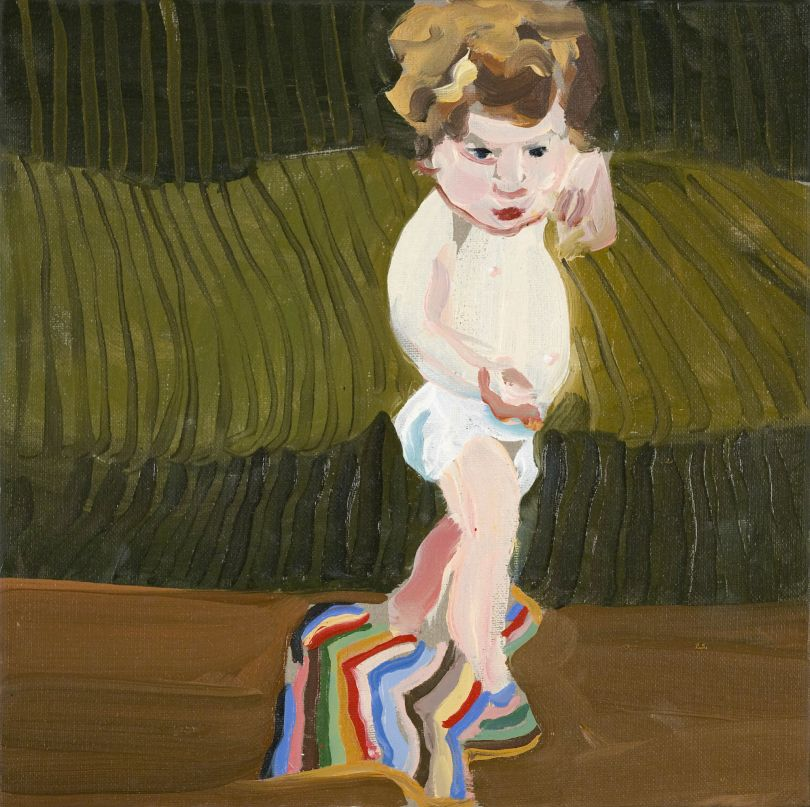 Esme with a Striped Blanket, 2008 oil on canvas 30 x 30 cms 11.82 x 11.82 inches  © Chantal Joffe  Courtesy the artist and Victoria Miro, London / Venice