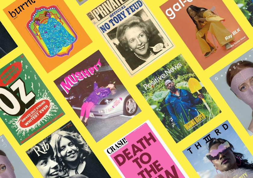 Print! compilation image © Courtesy of Stack/Somerset House, Burnt Roti, Crash!, gal-dem, Garageland, Mushpit, Oz, Private Eye, Positive News, Spare Rib, and Thiiird