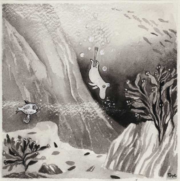 Tove Jansson, Illustration for the book Moominland Midwinter, c. 1956, scrape drawing on cardboard, 13 x 18,5 cm, Private Collection. Photo: Finnish National Gallery / Hannu Aaltonen