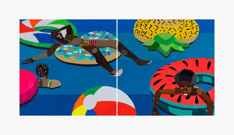 Derrick Adams, Floater 88, 2020. Acrylic paint, pencil, fabric on paper collage, on paper; each: 50 x 50 in (127 x 127 cm) overall: 50 x 100 in (127 x 254 cm). Courtesy the artist, Salon 94, and South Etna Montauk.