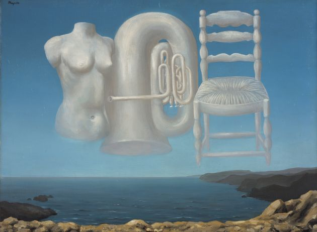 RENÉ MAGRITTE (1898 - 1967) Le Temps Menaçant (Threatening Weather),1929.  Oil on canvas, 54.00 x 73.00 cm (framed: 72.70 x 94.00 x 9.50 cm).  Purchased with the support of the Heritage Lottery Fund and the Art Fund 1995  Copyright: © ADAGP, Paris and DACS, London 2018.  Photographer: Antonia Reeve