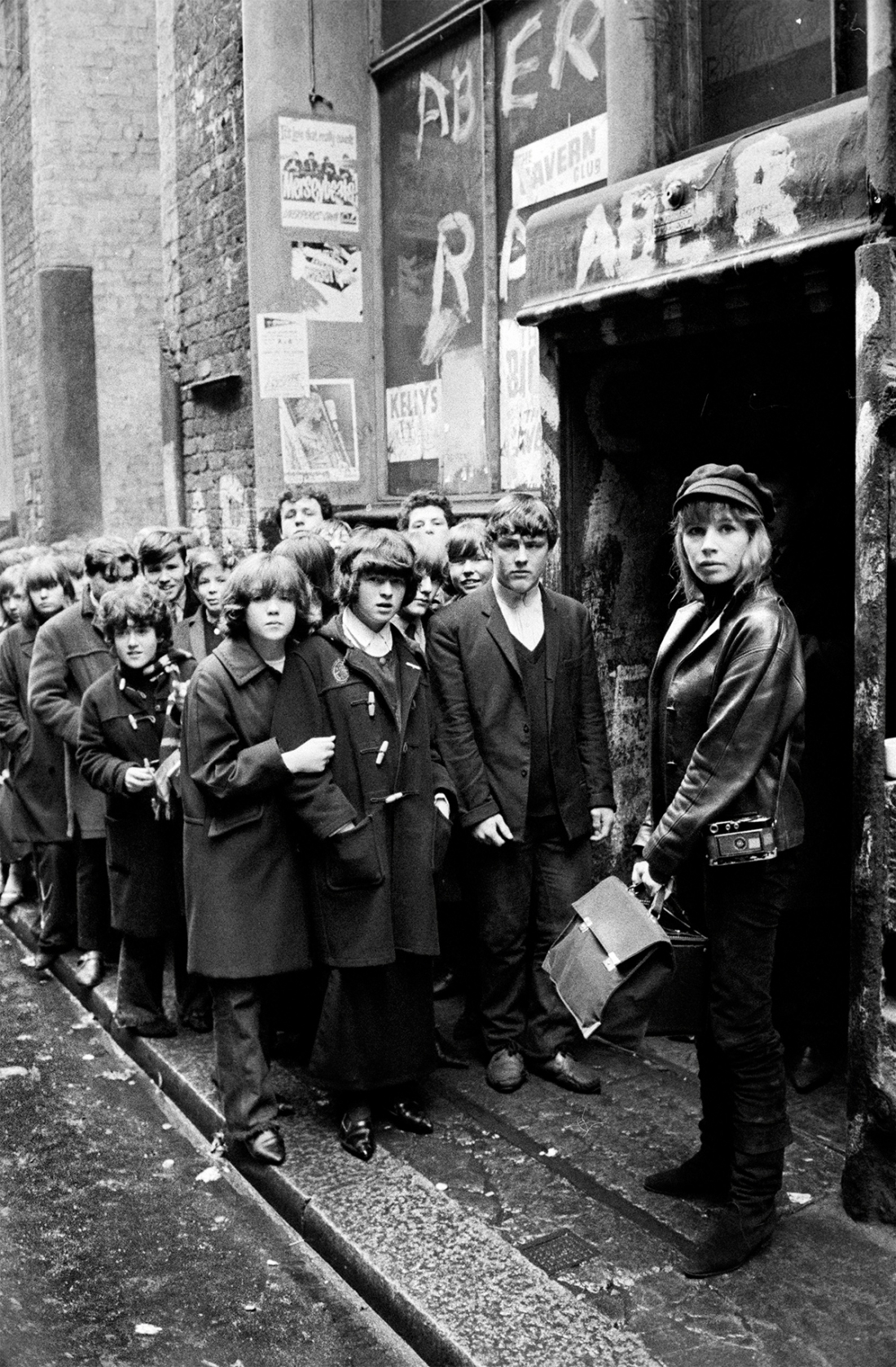 Max Scheler, Astrid Kirchherr in front of the Cavern Club, 1964