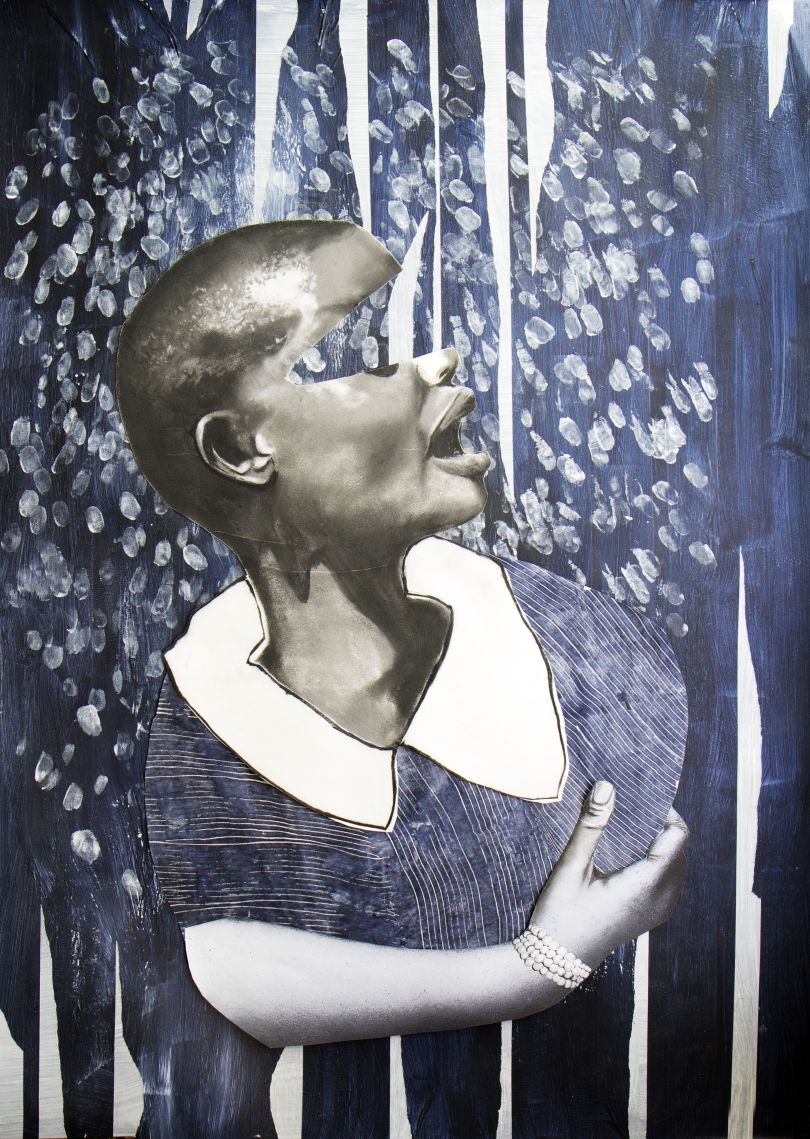 Nkechi Ebubedike, Bright Girls #8 (2019), acrylic, charcoal and photographic cut-out on paper. Courtesy of the artist and TAFETA Gallery