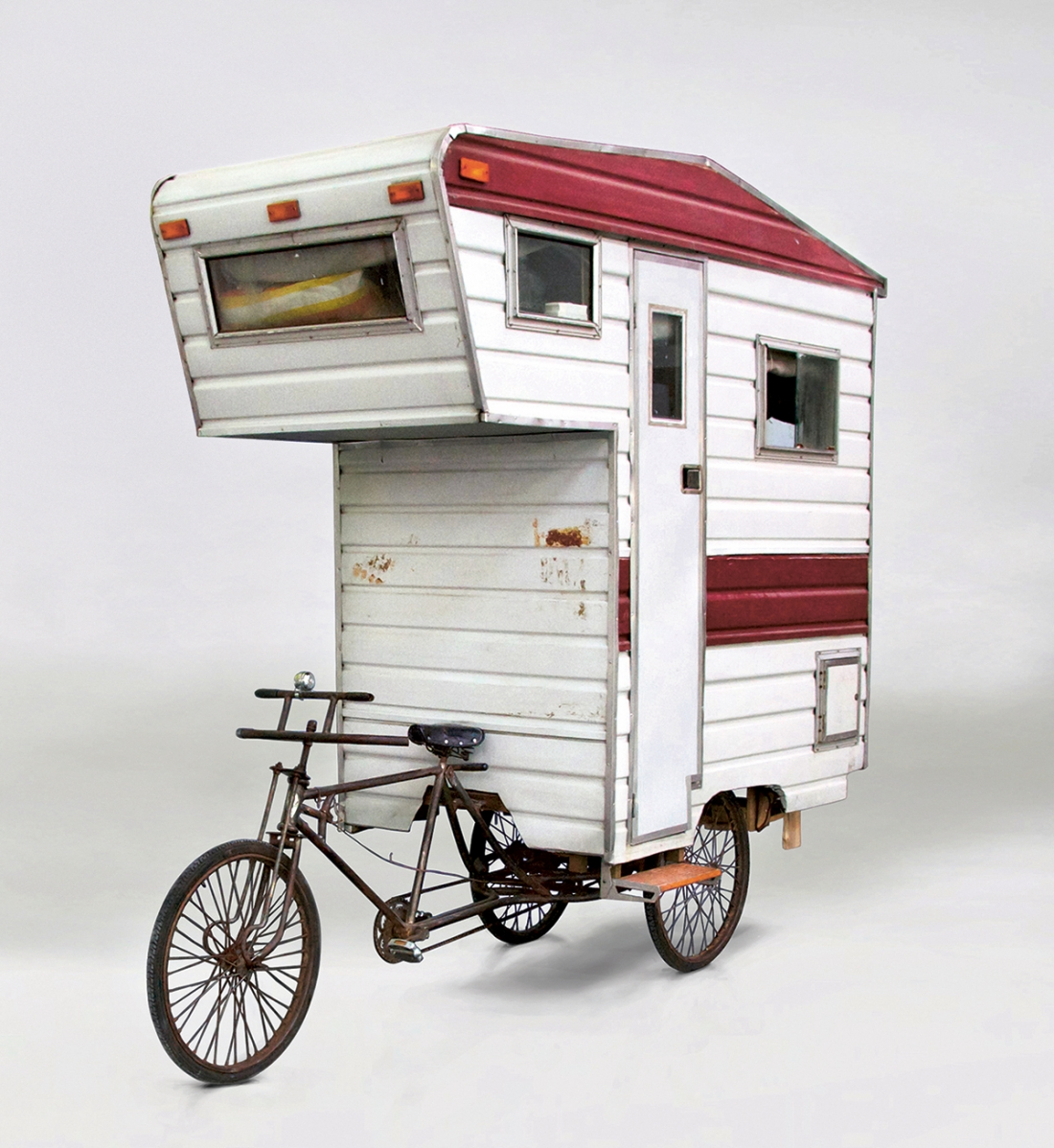 Camper Bike, Kevin Cyr, USA, 2008. Tricycle, corrugated aluminium, Plexiglas, plywood, timber. Picture credit: Kevin Cyr