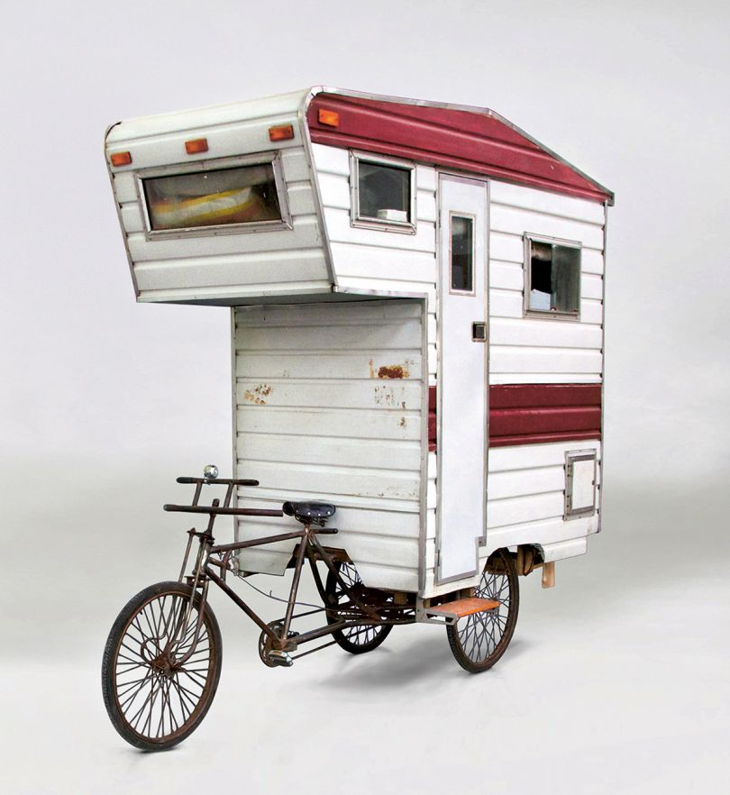Camper Bike, Kevin Cyr, USA, 2008. Tricycle, corrugated aluminium, Plexiglas, plywood, timber. Picture credit: Kevin Cyr