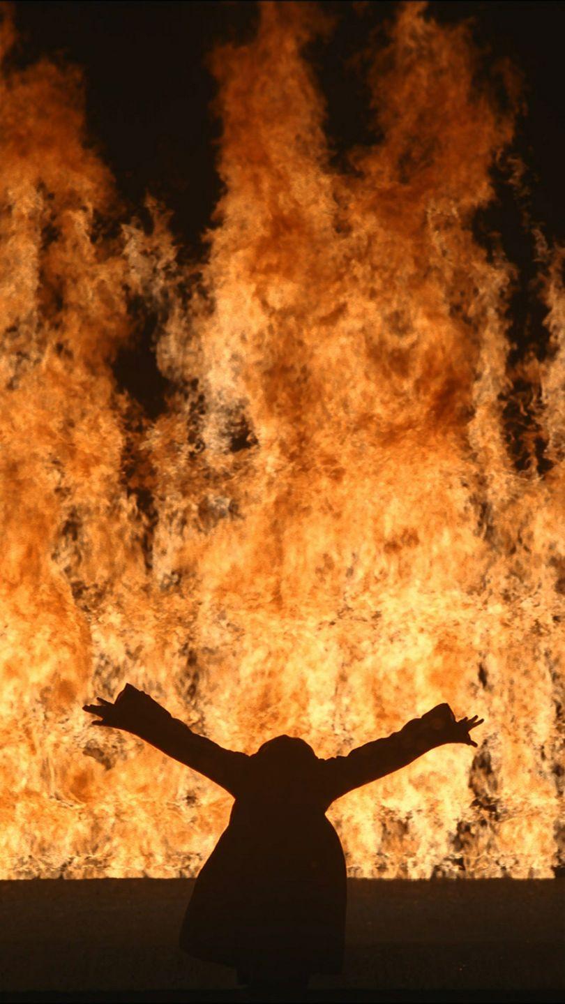 Fire Woman, 2005Video/sound installation11:12 minutesPerformer: Robin BonaccorsiCourtesy Bill Viola Studio© Bill ViolaPhoto: Kira Perov