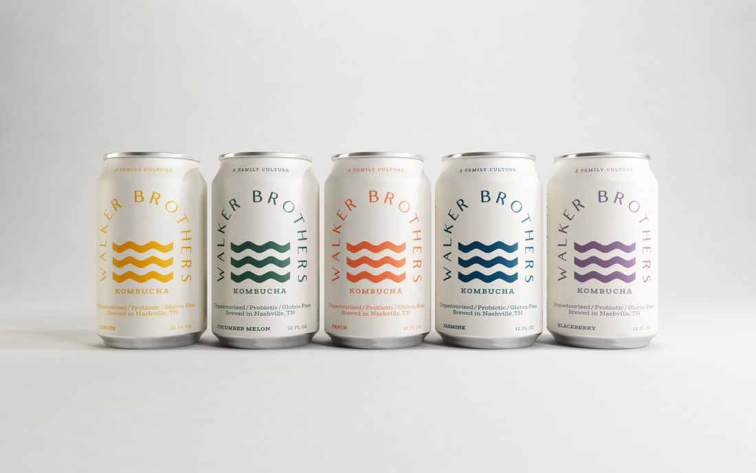Fresh' but 'mature' designs for an alcoholic kombucha brand