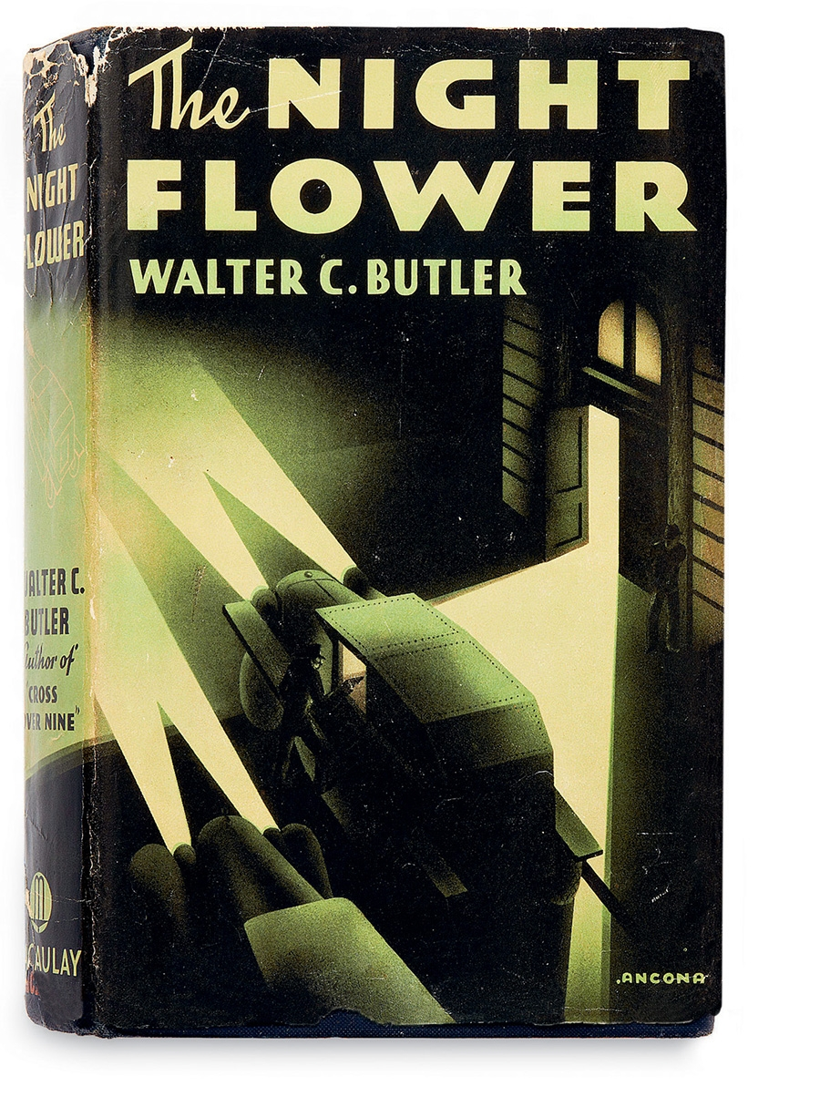 Edward d'Ancona, The Night Flower, Walter C. Butler. The Macaulay Company. New York, 1936. 'Ancona' Edward D'Ancona. From the collection of Martin Salisbury. Photograph, Simon Pask. The dramatic use of light and dark by 'Ancona' (USA) immediately conveys the information that this is a mystery novel (one of only two written by Frederick Faust under this pseudonym) and echoes the film noir genre of the period.