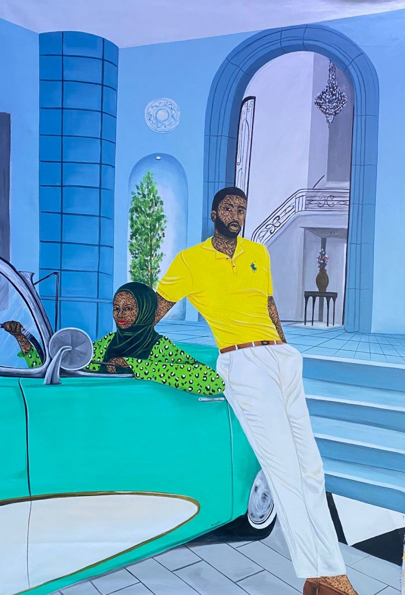 """Hamid Nii Nortey, """"Build an empire, leave a legacy"""", 2021. Acrylic on canvas, 42x60 inches. Courtesy of the artist and of ADA contemporary art gallery"""