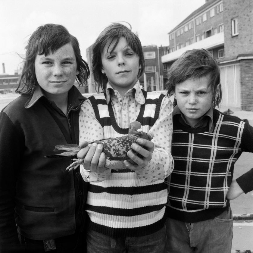 John Payne, aged 12, with friends and his pigeon Chequer. Portsmouth, 1974. Image credit: © Daniel Meadows. Courtesy the artist and Bodleian Libraries, University of Oxford