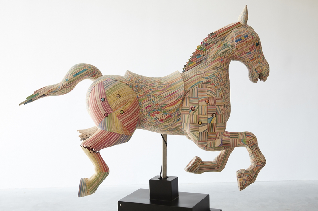 Beautiful sculptural wooden horses made out of broken ...