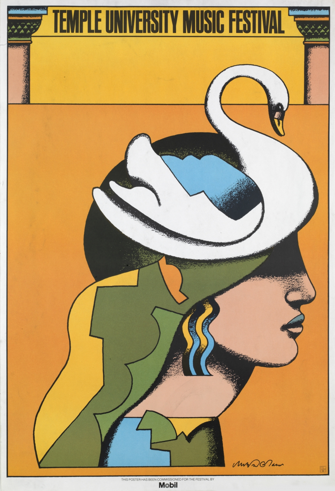 """Temple University Music Festival 1975. 4-color offset lithography, 35 x 24"""" Client: Temple University"""