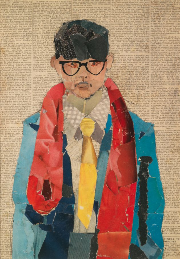 "David Hockney Self Portrait 1954 Collage on newsprint 16 1/2 x 11 3/4"" © David Hockney Photo Credit: Richard Schmidt Collection Bradford Museums & Galleries, Bradford, U.K."