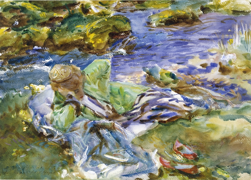 John Singer Sargent, A Turkish Woman by a Stream, c. 1907, watercolour on paper, over preliminary pencil, with touches of body colour, 35.9 x 50.8 cm, Victoria and Albert Museum. Bequeathed by Miss Dorothy Barnard. © Victoria and Albert Museum, London
