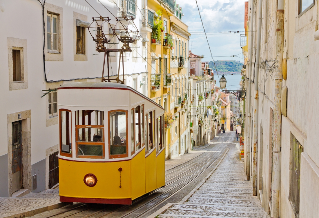 Lisbon's Gloria funicular connects downtown with Bairro Alto
