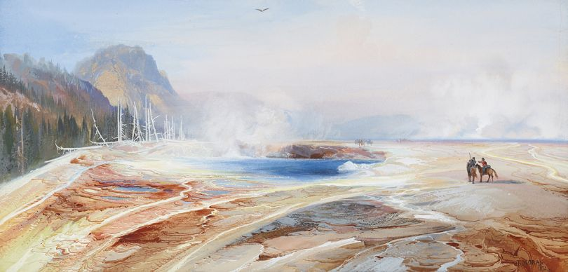 Big Springs in Yellowstone Park, 1872. Thomas Moran, American (born England), 1837-1926. Watercolor and opaque watercolor on paper, 9 1/4 × 19 1/4 inches. Private Collection.