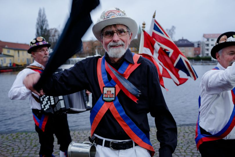 Bob brought Morris dancing to Denmark when he moved there 32 years ago. He had to give up his British citizenship to live there permanently and is married to a Dane.