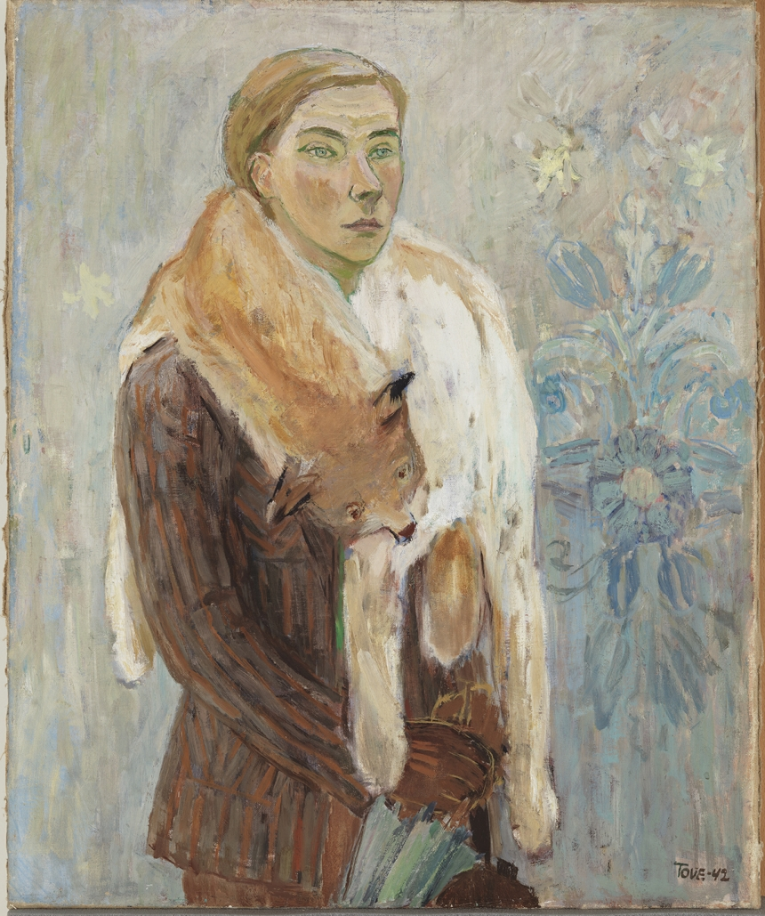 Tove Jansson, Lynx Boa (Self-Portrait), 1974, Oil, 73 x 60.5 cm, Private Collection. Photo: Finnish National Gallery / Yehia Eweis